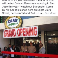 African coffee tea Grand Opening with Sam Liccardo Mayor of San Jose.